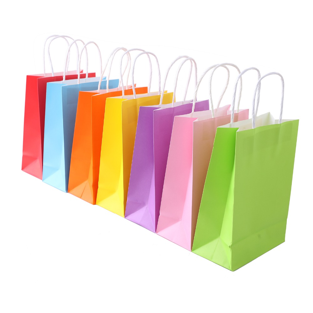 35 Pcs Fashion Kraft Paper Bags with Handle Party Favor 7 Color Bags For Birthday Party Wedding Celebrations Gifts Accessaries