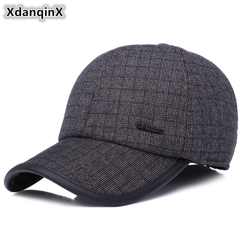 2018 Adult Men Winter New Style Warm Baseball Cap Outdoor Casual Old Man With Ear Hat Adjustable Tongue Cap Male Bone Dad Hats winter women beanies pompons hats warm baggy casual crochet cap knitted hat with patch wool hat capcasquette gorros de lana