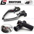 "Motorcycle Black CNC Adjustable Brake Clutch Levers With 1""25mm RSD Deep Cut Handle Bar Hand Grips For Harley Sportster XL883"