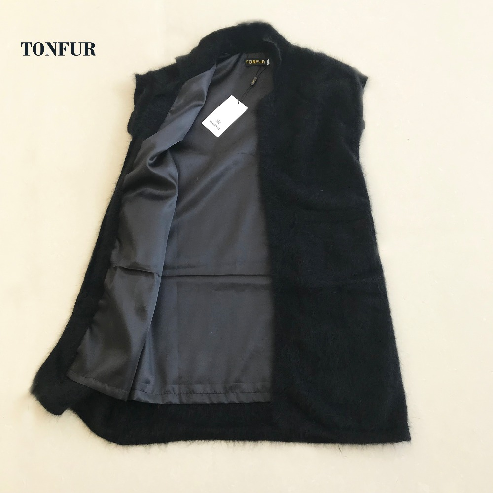 2019 New Arrival Women Knitted Good quality 100% Natural Mink Cashmere Sweater Vest With Lining and Pockets for Lady wsr449
