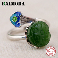 BALMORA Solid 925 Sterling Silver Lotus Flower Open Rings For Women Gift Sterling Silver Ring Retro