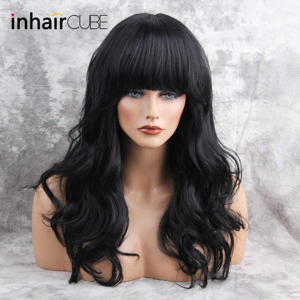 ESIN 26 pulgadas de mezcla larga Peluca de pelo sintético Natural onda de cuerpo largo negro con flequillo para mujeres blancas imitación Top pelucas 4 colores