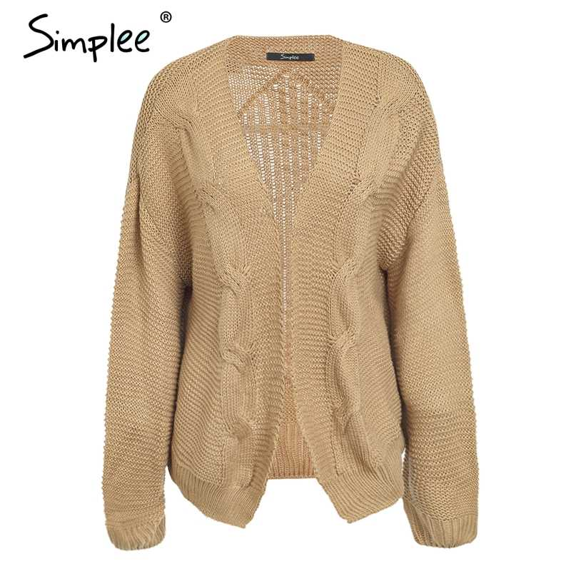 Женский закрученный вязаный кардиган Simplee, элегантный теплый серый свитер, повседневный кардиган для осени и зимы, 4 цвета