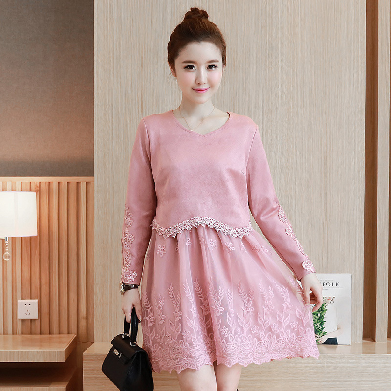 Otoño invierno dress rosa del cordón vestidos de maternidad para ...