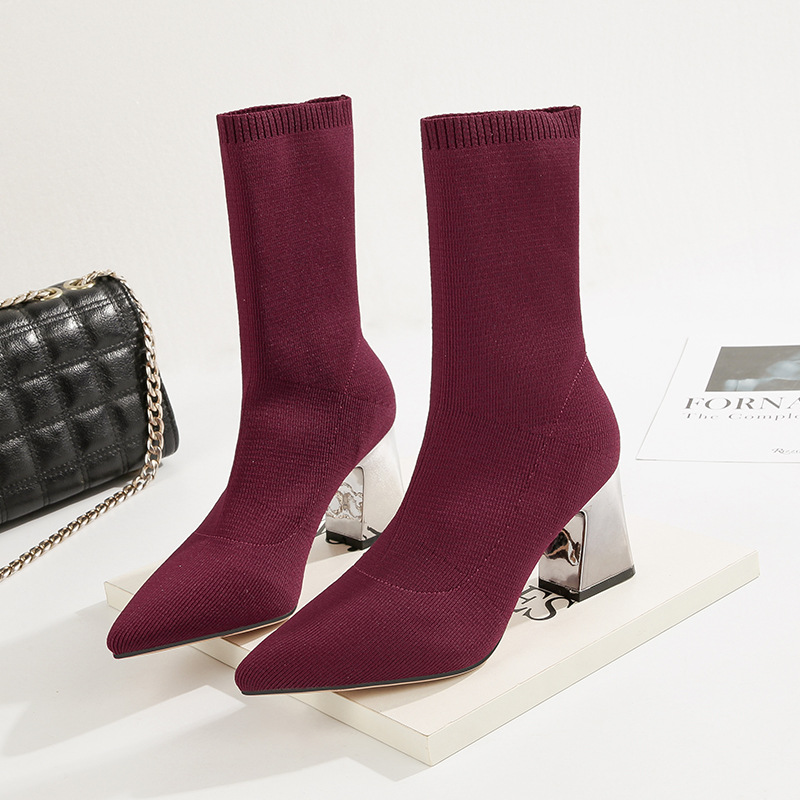 Faux Suede Block Heels Boots Women's Autumn Winter Shoes 2018 Mid Calf Square High Heel Boots Stretch Sock Boots Ladies