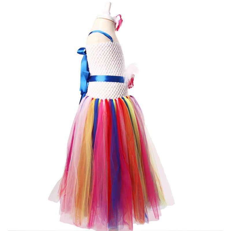 Keenommy caramelo Arco Iris flor niñas tutú vestido para cumpleaños foto boda niños Halloween Navidad disfraz TS052