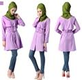 Новые Мусульманские женщины С Длинными Рукавами Свободные 3 Цвета Блузки Индонезия Малайзия Арабских женщин Стоять Воротник Моды Блузки С пояс