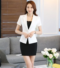 Summer Short Sleeve Professional Business Women Work Suits With Jackets And Skirt Formal Uniform Style Blazers