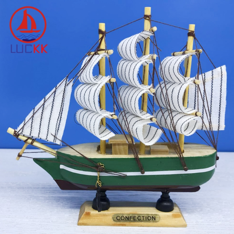 LUCKK 16CM Wooden Model Ships Nautical Home Interior Decoration Wood Crafts Room Loft Miniature Marine Sea Birthday Gifts