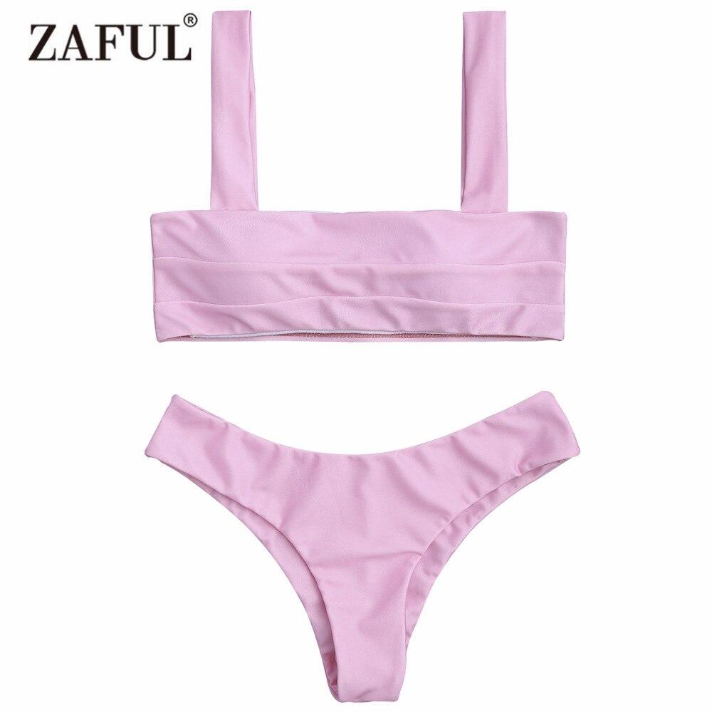 Zaful 2017 Новый женщины мягкий Бандо бикини верх и низ сексуальная низкий талией сплошной Цвет купальник купальный костюм biquini