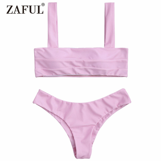 93881f79320c2 Zaful 2017 Women New Padded Bandeau Bikini Top and Bottoms Sexy Low Waisted  Solid Color Square Swimsuit Bathing Suit Biquini