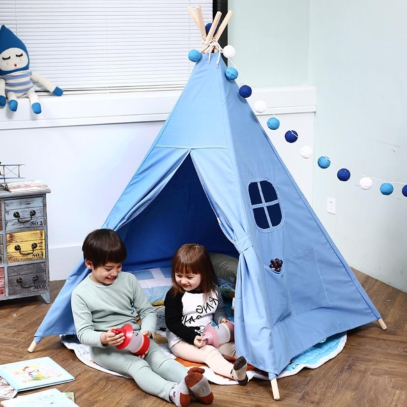 Lona de algodón Tipi Teepee DE LOS NIÑOS bebé casa juguetes para los niños plegable Tipi niños decoración de la habitación de 4 polos fotografía