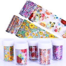 1 Roll Holographic Nail Foil Sticker Colorful Flowers Starry 4*100cm Transfer Design Decoration