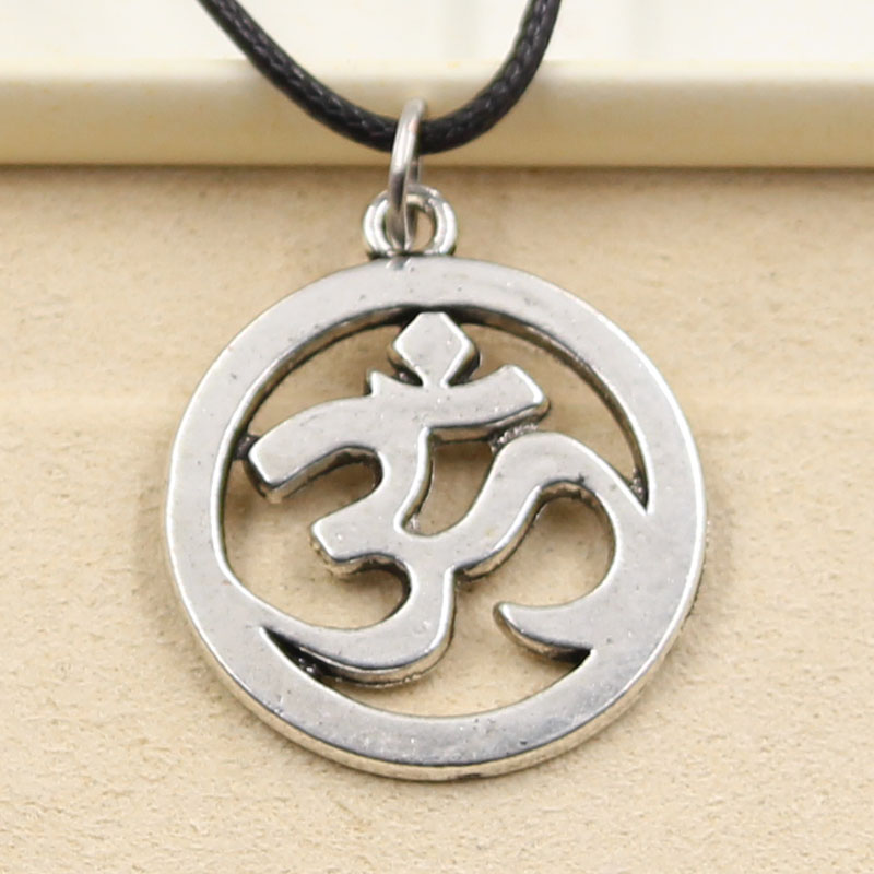 New Fashion Tibet Silver Color Pendant Yoga OM Necklace Choker Charm Black Leather Cord Harga Pabrik Perhiasan Buatan Tangan