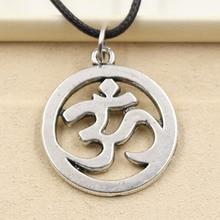 New Fashion Tibetan Silver Pendant Yoga OM Necklace Choker Charm Black Leather Cord Factory Price Handmade jewelry
