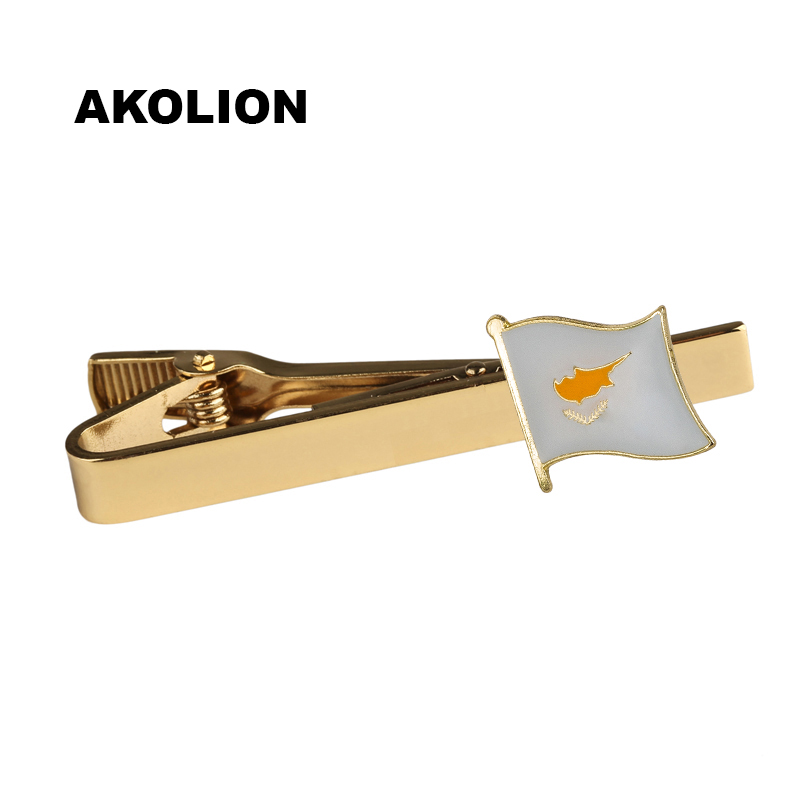 Cyprus Country Flag Metal Tie Clip Tie Pin For Men Gift Tie bar Fashion Jewelry  100pcs                                  KS-0155