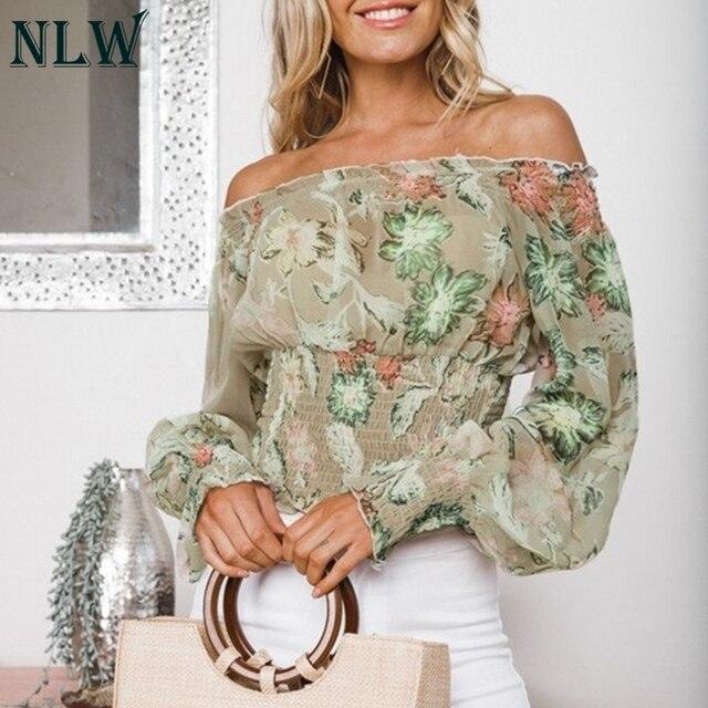 f5222c2baf2d2 NLW Smocking Off Shoulder Mesh Blouse Women 2018 Autumn Tropical Lantern  Long Sleeve Ladies Tops Camisa Kakhi Floral Blusa Mujer