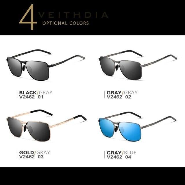 VEITHDIA-Gafas de sol cuadradas para hombres/mujeres, lentes polarizadas vintage de marca, UV400, accesorios, V2462 4