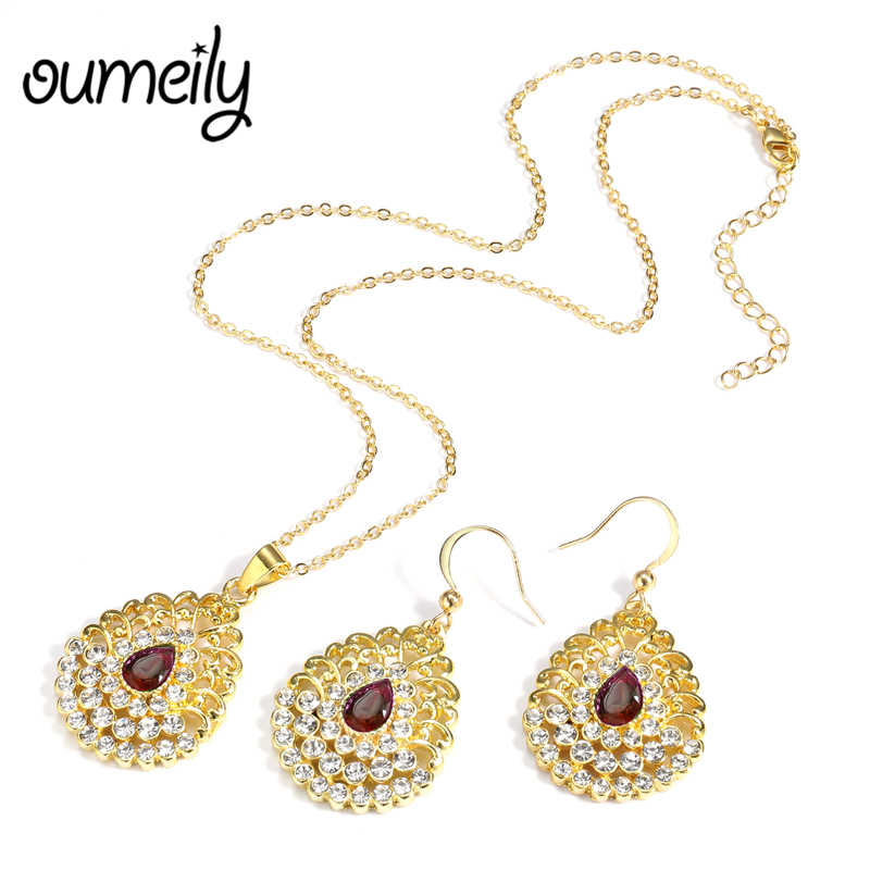 OUMEILY Turkish Ethiopian Jewelry Jewellery Sets For Women Nigerian Wedding African Beads Jewelry Set Gold Color Jewelry Set