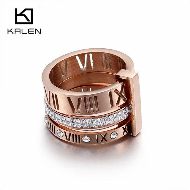 Kalen Rhinestone Rings For Women Stainless Steel Rose Gold Roman Numerals Finger