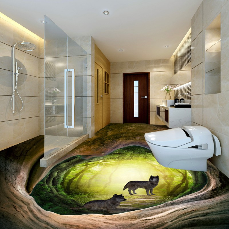 Free shipping photo Cave Wolf 3d flooring painting living room home decoration chinese style wear non-slip mural wallpaper signed wolf warriors celina jade autographed original photo 7 inches 7 versions free shipping 082017