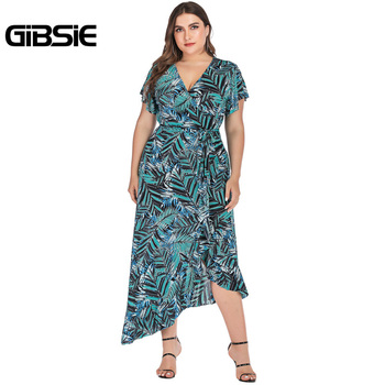 GIBSIE Plus Size Boho Tropical Print Long Dress Women Vacation Beach Casual V-Neck Butterfly Sleeve Asymmetrical Dress Summer