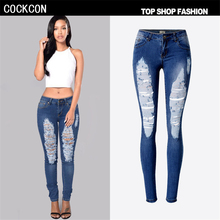COCKCON 2017 Hole Jeans Women High Waist Ripped Jeans For Women Stretch Denim Skinny Jeans Women Pencil Pants Femme TPS6618
