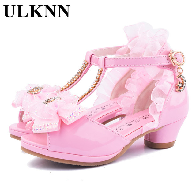 dc875262612a ULKNN Girls High Heel Sandals 2018 summer new children s princess shoes  little girls performing shoe white