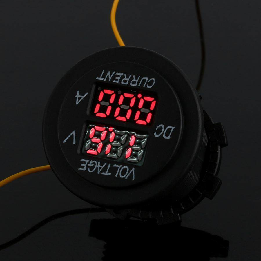 Car Motorcycle DC 12-24V Dual  Double-layer Display Red Digital VoltMeter Gauge Voltmeter  Amp Volt Meter Guage  Ammeter 1-10A
