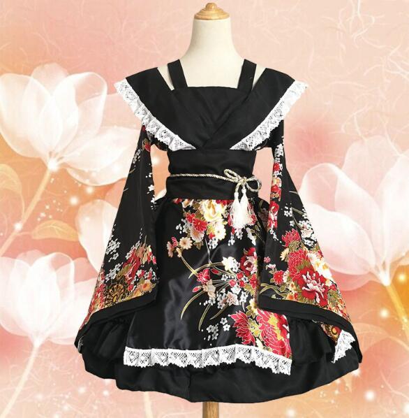 Lolita GokuRakuJoudo Flower Kimono Yukata Maid Dress Meidofuku Uniform Outfit Anime Cosplay Costumes