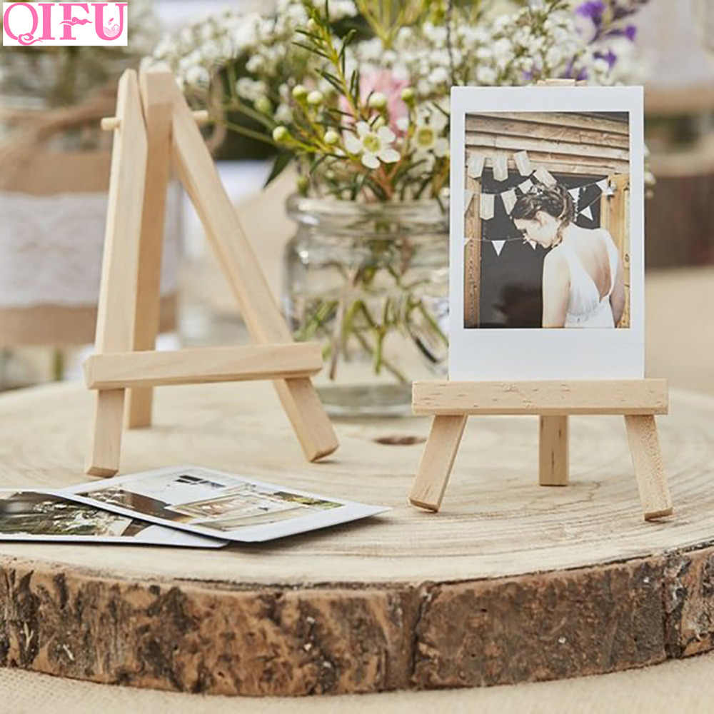 QIFU Wedding Metal Photo Clip Wooden Easels Rustic Wedding Decor Wedding  Table Decor Wedding Party Decor Art Painting Card Stand