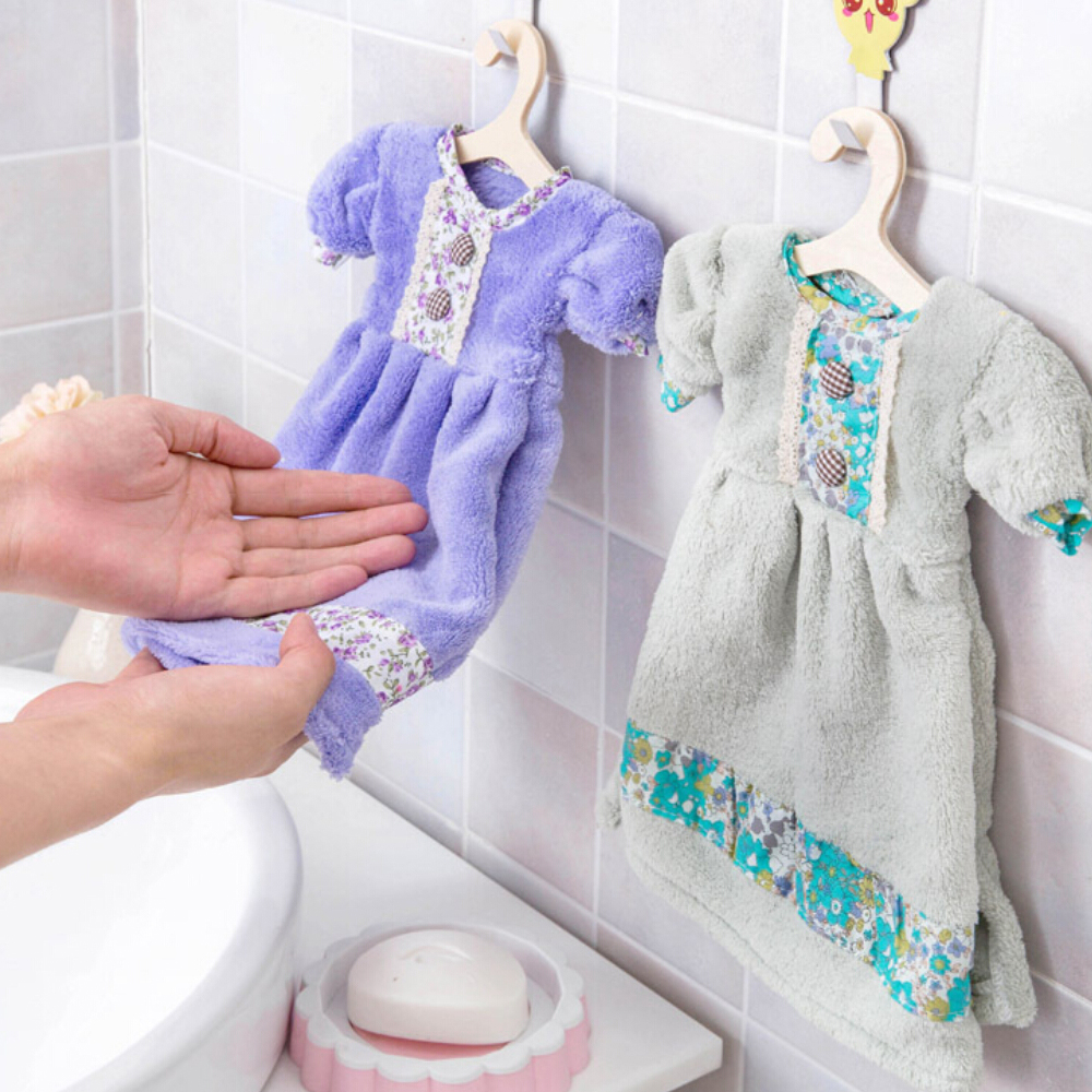 d71a14c16d9 Novelty Dress Coral Fleece Baby Kids Hand Towel Hanging Hand Wipe Kitchen  Cleaning tools  Super