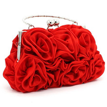 Women Satin Rose Pure Color Handbag Evening Bags Wedding Handbags luxur