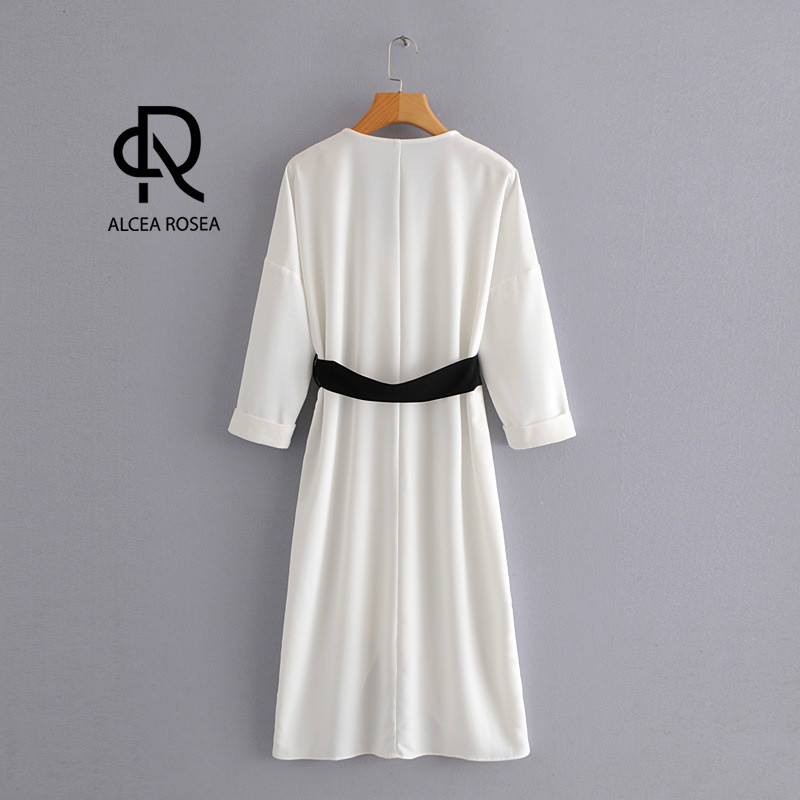 De Botón Fajas Ropa longitud Con Suave Blanco Rodilla Mujer Otoño Alcea Vestido La Nueva Ar1383 Rosea White Elegante wx1CXnR