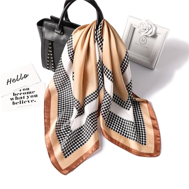 Image 2 - women polka dot printed soft handle bag femme hair foulard wraps  muslim hijab headband bandana square silk scarf 70x70Womens Scarves