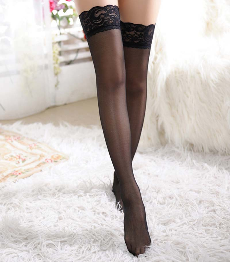Top Quality Women's Hosiery Non-slip Stay Up Thigh High Silk Stockings Hose.Ladies Sexy Widen Lace Stockings Pantyhose