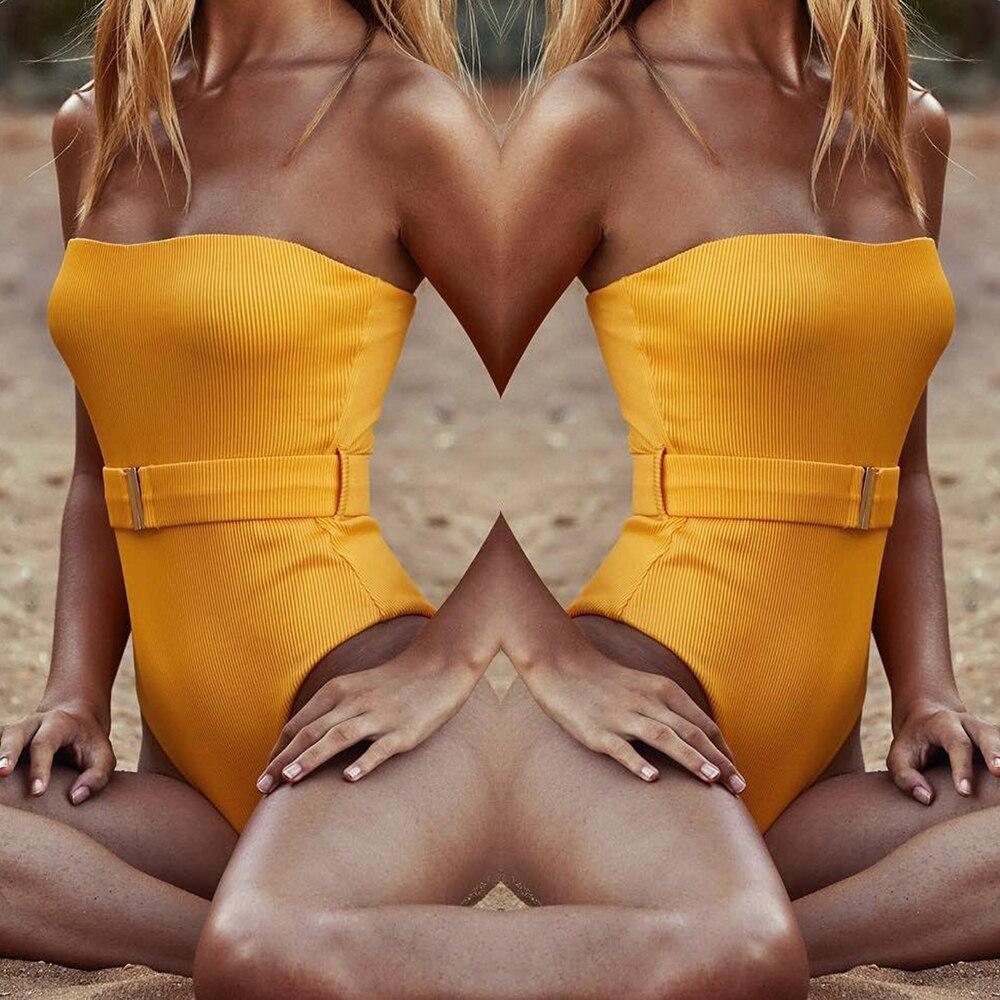 ZTVitality Sexy Swimwear mujer 2019 nueva llegada amarillo una pieza traje de baño acolchado sin tirantes cinturón mono Monokini traje de baño L