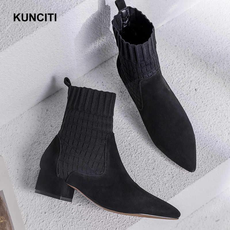 2019 KUNCITI puntiagudas para mujer suéter de tacón grueso botas de gamuza de cuero de gamuza para mujer botas de albaricoque deslizantes en los zapatos de retazos D271