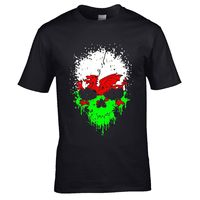 Aged Dripping Gothic Skull & Welsh Dragon Wales CYMRU flag mens t shirt top giftSummer Men'S fashion Tee