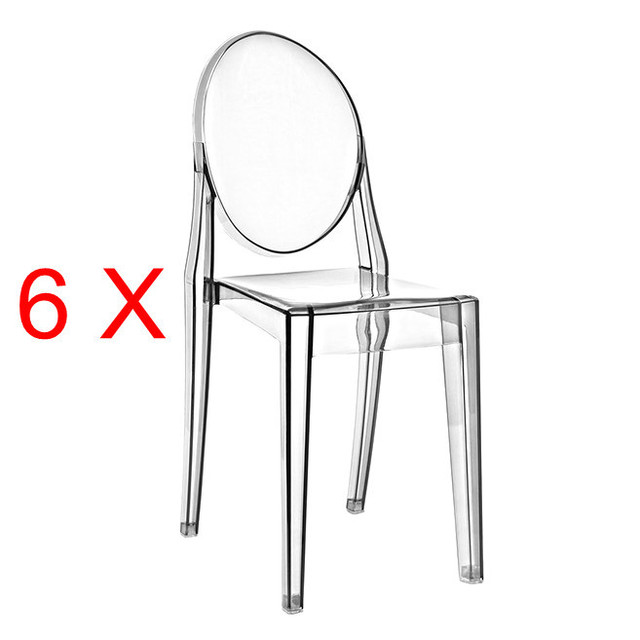 6 X Louis Ghost Chair Modern Acrylic Furniture Tiffany Silver