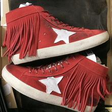 hot deal buy genuine leather tassel woman sneaker red high top lace-up student casual board shoes women casual shoes do old dirty shoes 41