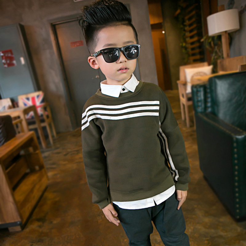 Winter Warm Hoodies For Children Plus Velvet Sweatshirts For Baby Big Boys Warm Outerwear Clothes For Kids 3-14Y