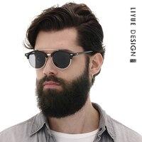 LIYUE Retro Rivet Polarized Sunglasses Men 2017 Classic Brand Designer Unisex Sun Glasses Half Frame UV400