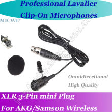 MICWL ME4 Pro Microfone Lavalier para Lapel Microphone for AKG Samson Gemini Wireless XLR Mini 3-Pin micwl me2 pro microfone lavalier para lapel microphone for akg samson gemini wireless xlr mini 3 pin