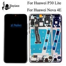 Nero originale 6.1 pollici Per trasporto libero di Huawei P30 Lite/Per Huawei Nova 4E LCD Display Touch del Pannello Dello Schermo Digitizer Assembly con Telaio