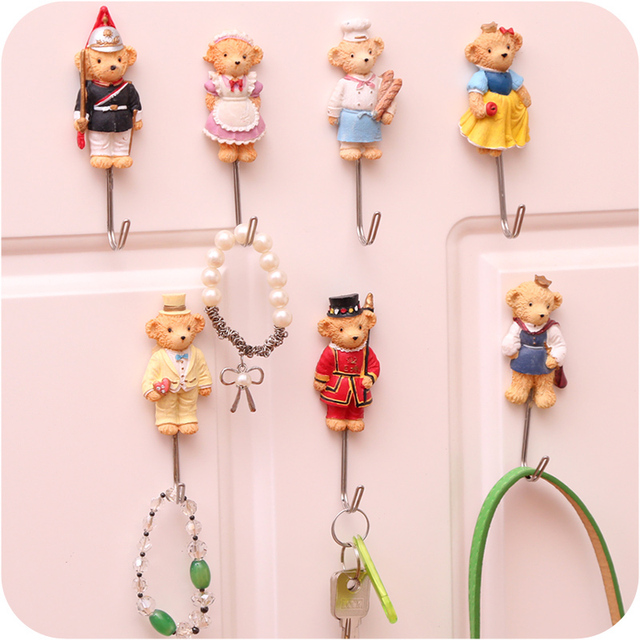 Cute Cartoon Decorative Wall Hook Door Sticky Hangers Strong Adhesive Hooks  Key Holder Organizer Home Decor