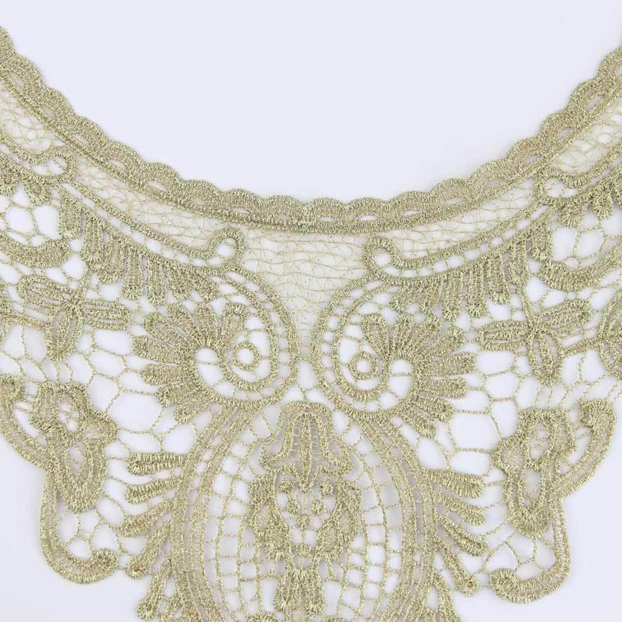 1 Pc Gold Embroidery Neckline Costume Decor Sewing Applique Craft Collar Lace Trim S10912