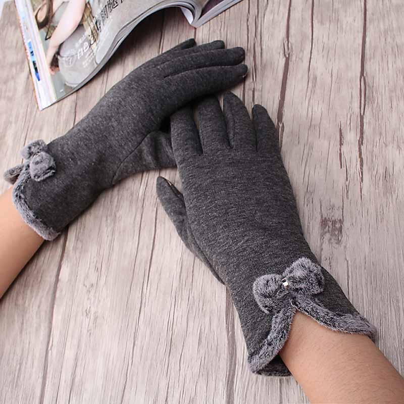 Fashion Bowknot Guantes Winter Cute Bow Girl Plush Full Finger Gloves Cashmere Luvas Thick Warm Women's Mittens Glove