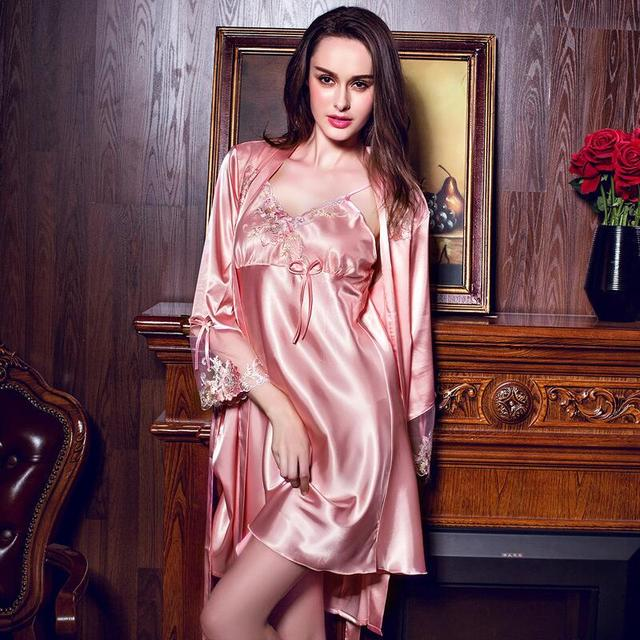 Summer Women Luxury Noble Thin Silk Satin Lace Sexy Sling Robe Twinset Nightgown Sleepwear Nightdress Sling Sleepwear Pink