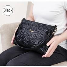 ZOOLER Embossed Flower Soft Genuine Leather Women Messenger bags 2020 New Leisure Cowhide Safe Shoulder&crossbody Bag#yc202